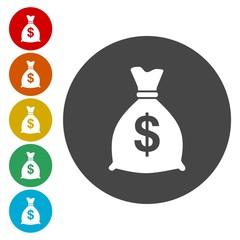 Money bag sign icon. Dollar USD currency symbol