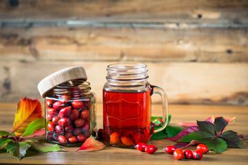 Rosehip tea and berries