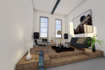 Loft, Apartment, Wohnung 3D-Simulation