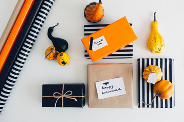 Pumpkins and Presents as a Halloween Decoration