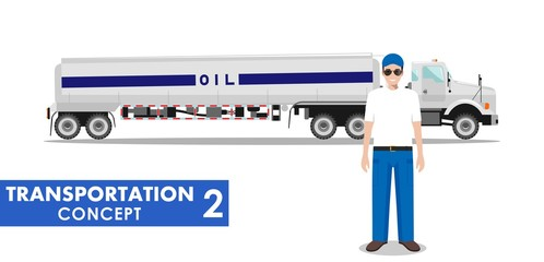 Transportation concept. Detailed illustration of gasoline truck and driver on white background in flat style. Vector illustration.