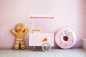 Gingerbread man and donuts