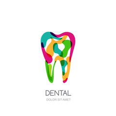 Creative vector logo concept for dental clinic, dentist and medicine. Colorful abstract tooth isolated icon, symbol, emblem
