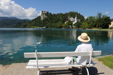 Old man enjoying the Bled Lake scenery, Slovenia