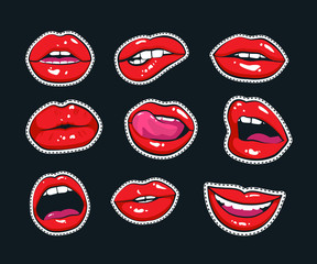 Vector stickers kit of girl lips. Sexy mouth with a kiss, smile, tongue and teeth isolated on background.