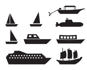 Ship and boat icons in simple style, vector