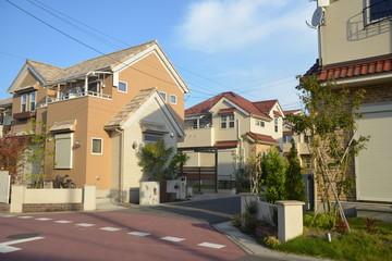 一戸建てが並ぶの住宅街