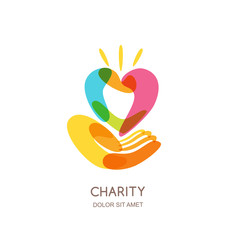 Charity vector logo design template. Abstract colorful heart on human hand, isolated icon, symbol, emblem. Concept for voluntary, non profit organization or health and healthcare themes.