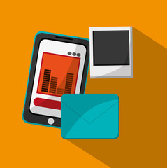 Smartphone envelope and picture icon. Business news office and management theme. Colorful design. Vector illustration