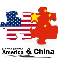 China and United States flags in puzzle