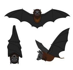 Cute Bat Poses Cartoon Vector Illustration