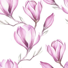 Seamless pattern with blooming magnolia twig. Watercolor illustration.