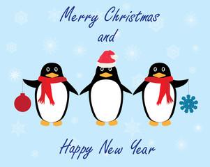 vector penguins winter