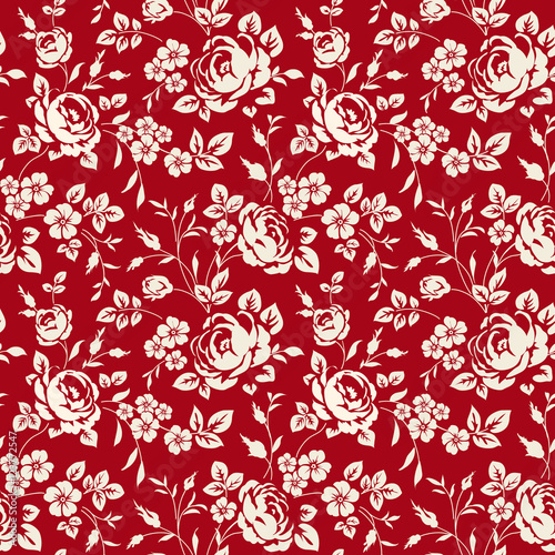 Seamless Pattern With Vintage Roses Floral Wallpaper White On Red Background