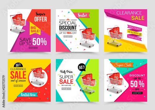 Collection of modern sale banner template. Vector illustrations ...