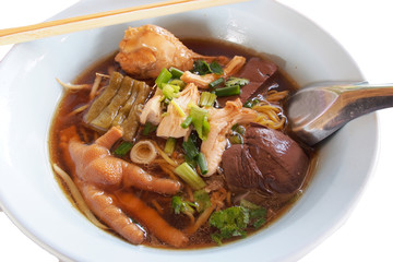 chicken foot in noodle soup  to taste chicken blood