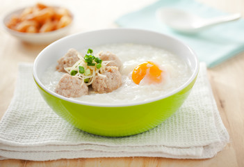 rice porridge with boil pork and egg,thai food