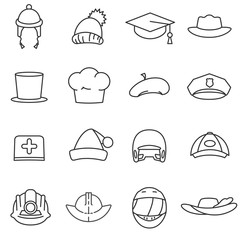 Headdress, line icons set. hats of different professions, symbols collection. Headgear, vector linear illustration