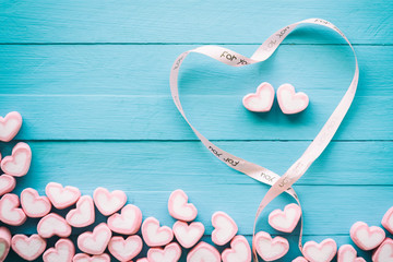 Pink heart shape marshmallow for love theme and Valentine concep