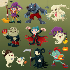 Vintage Halloween poster design with vector ghost, vampire, pirate, witch, wolfman, reaper, devil character.