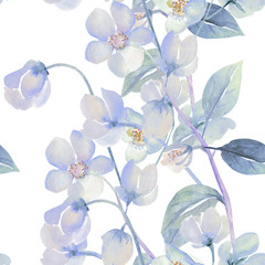 Seamless watercolor flowers of rosemary on a colored background