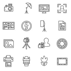 Photographing, line icons set. Photo studio, symbols collection. The collection of symbols for photo elements, vector linear illustration