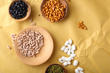 Assortment of beans on paper