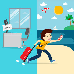 Business going vacation. Vector illustration business concept.