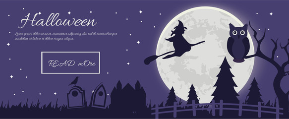 Halloween party. Halloween Silhouettes.Halloween Witch,Halloween