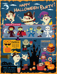 Vintage Halloween poster design with vector ghost, vampire, witch, wolfman, mummy, devil character.