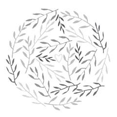 Cute hand drawn Leaves set. Monochrome Vector Illustration.