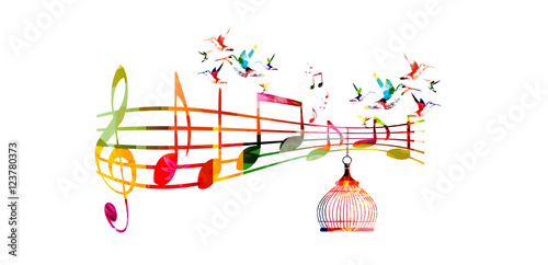 Creative Music Template Vector Illustration Colorful G Clef And