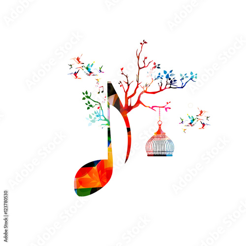 Creative Music Template Vector Illustration Colorful Crotchet With Notes Background Musical