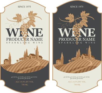 wine labels set with a landscape of vineyards