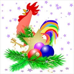 christmas star and cock