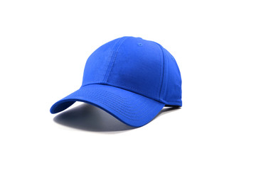Closeup of the fashion blue cap isolated on white background. Wall mural