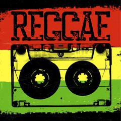Audiocassette and Reggae lettering. Vector reggae design with au
