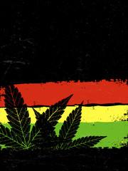 Marijuana silhouette. Rastafarian flag grunge background. With s