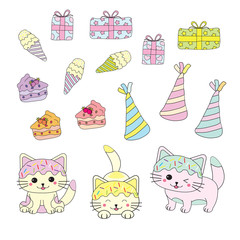 Birthday illustration with cute kittens and birthday ornaments suitable for Birthday children sticker and clip art