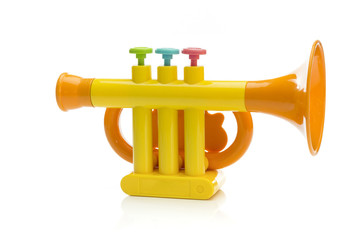 Trumpet toy isolated on white background