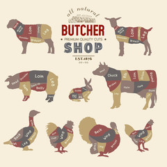 Butcher shop. Farm animals silhouette