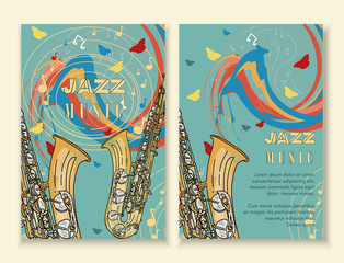 Jazz festival poster template hand drawn vintage
