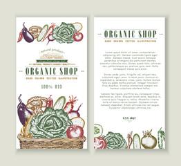 Vegetables market vector brochure design template.
