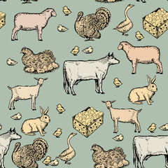 Farm animals vintage seamless pattern hand drawn vector