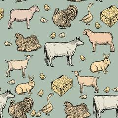 Farm animals vintage seamless pattern hand drawn vector