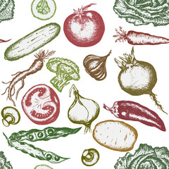 Seamless pattern hand drawn vegetables. Healthy eating