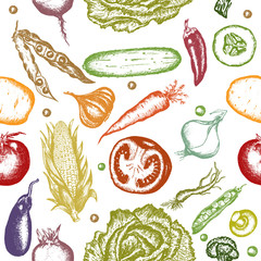 Fresh vegetables seamless pattern healthy eating