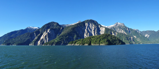 Sailing through Chilean Fjords: Aysen fjord and Puerto Chacabuco surrounding area, Patagonia, Chile, South America.