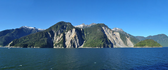 Panoramic view of Chilean fjords: Aysen fjord and Puerto Chacabuco surrounding area, Patagonia, Chile, South America.