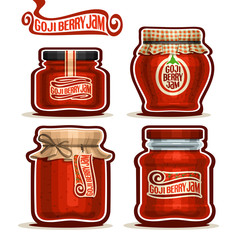 Vector logo Goji Berry Jam in glass Jars with paper lid cover, orange Pot home made goji berry jams, twine rope bow, homemade fruit jam jar, jelly pot with label, checkered cloth cap isolated on white